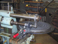 White Steamer burner - slitting saw setup - click for TechPage